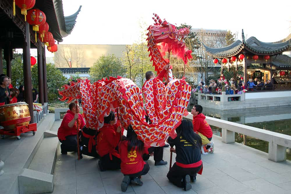 A dragon dance at the Lan Su Chinese Garden