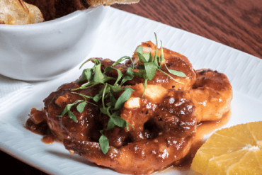 Yellow Church Cafe's spicy shrimp dish.