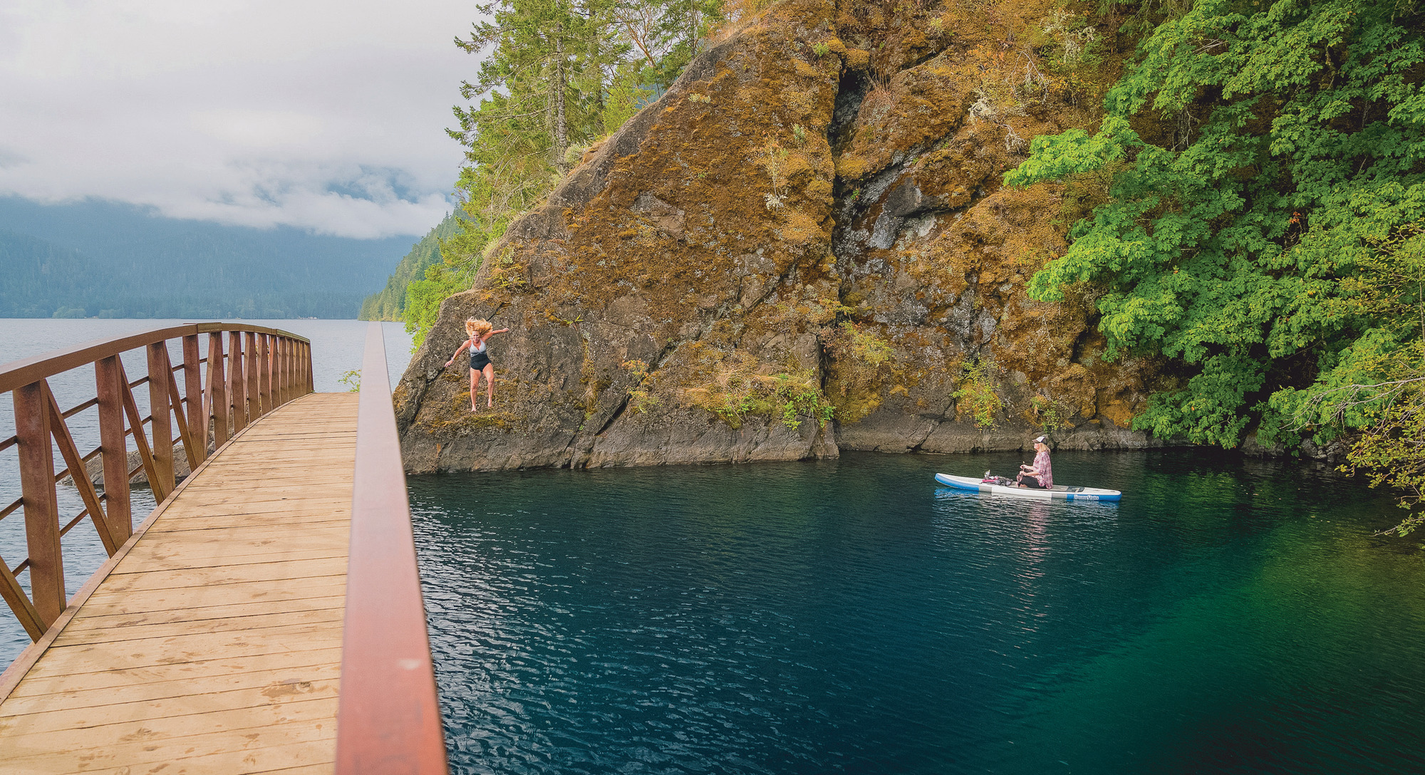 Swim radiantly blue waters at Devil's Punchbowl, in Olympic National Park's Lake Crescent.