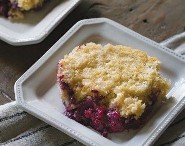 ROUXBE Culinary School's tart-sweet, onebowl huckleberry cobbler.