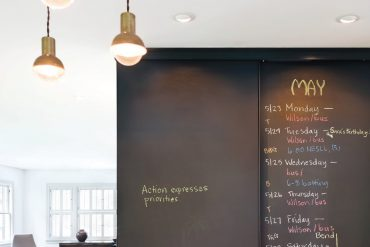 Black chalkboard paint on the sliding pantry deepens the Seattle kitchen's rich chestnut theme. Chalkboard paint comes in all colors to go with your color theme.