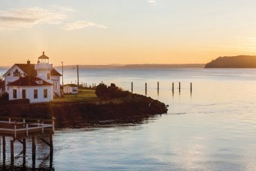 Observe the Puget Sound and nearby Whidbey Island from the historic Mukilteo Light Station at Mukilteo Lighthouse Park.