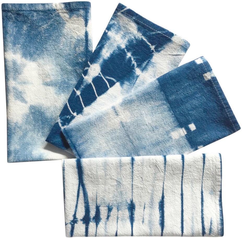 vibrant indigo-dyed cotton napkins