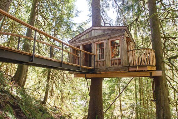 Temple of the Blue Moon was TreeHouse Point's first treehouse, inspired by the Parthenon's classic lines.