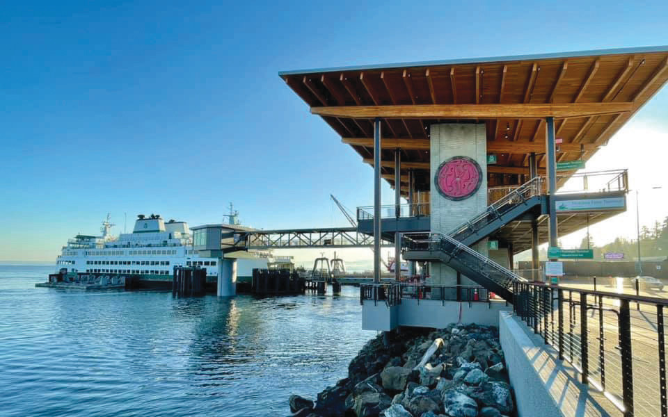 Mukilteo's new ferry terminal, which opened in December, features artwork from Native artists and architecture designed to resemble a longhouse of the Coastal Salish Tribes.