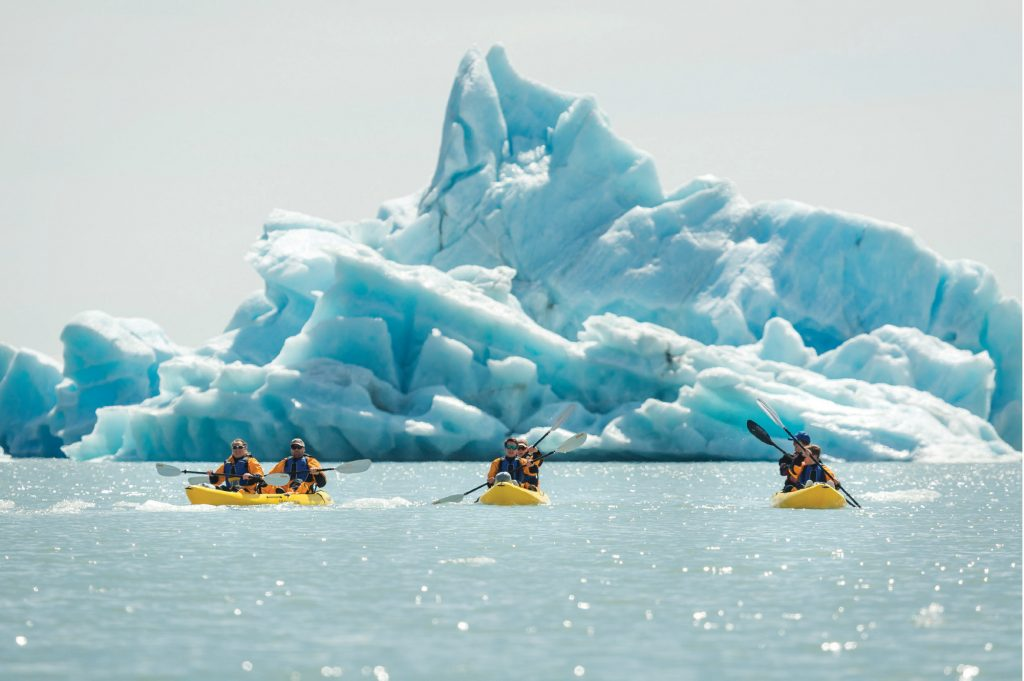 Kayakers in the Bear Glacier Lagoon glide past dramatic iceberg peaks.